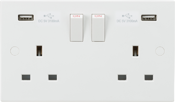 13A 2G Switched Socket with Dual USB Charger 5V DC  3.1A